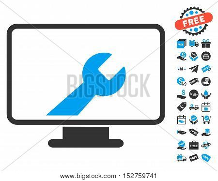 Desktop Options pictograph with free bonus pictures. Vector illustration style is flat iconic symbols, blue and gray colors, white background.