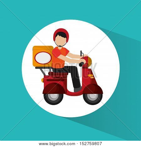Package and motorcycle icon. Delivery shipping and logistic theme. Colorful design. Vector illustration