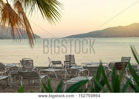 Chairs And Bed On Beach Of Marmaris
