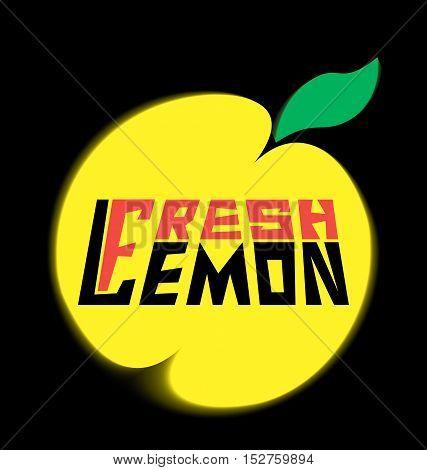 logo fresh lemon with leave on a black background