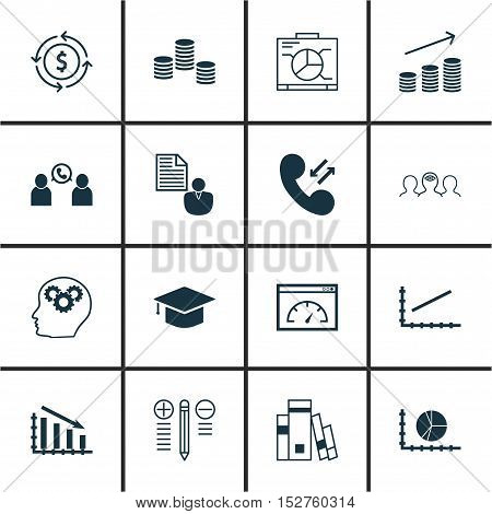 Set Of 16 Universal Editable Icons For Travel, Project Management And Business Management Topics. In