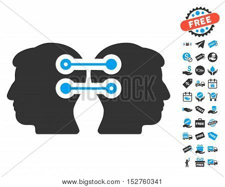 Dual Heads Interface Connection icon with free bonus pictograms. Vector illustration style is flat iconic symbols, blue and gray colors, white background.