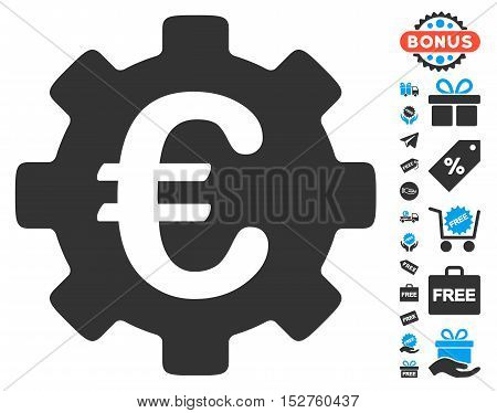 Euro Development Gear icon with free bonus pictograph collection. Vector illustration style is flat iconic symbols, blue and gray colors, white background.
