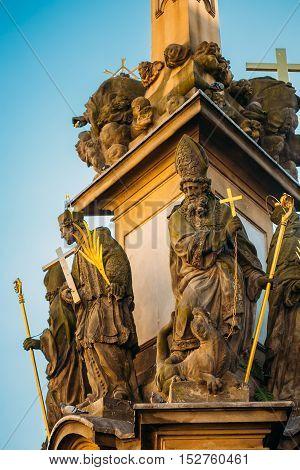 Detail of the Holy Trinity Column. Statue near St Nicholas Church. Lesser Town in Prague, Czech Republic