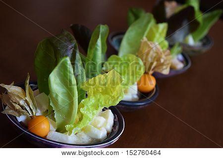 citrus salad, tasting menu at chef service