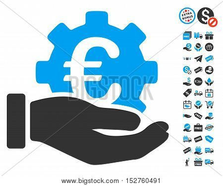 Euro Development Service Hand pictograph with free bonus clip art. Vector illustration style is flat iconic symbols, blue and gray colors, white background.