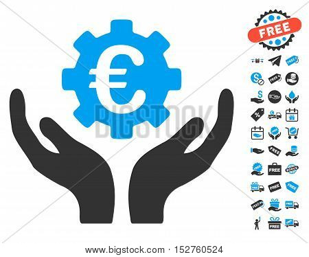 Euro Maintenance Hands icon with free bonus clip art. Vector illustration style is flat iconic symbols, blue and gray colors, white background.