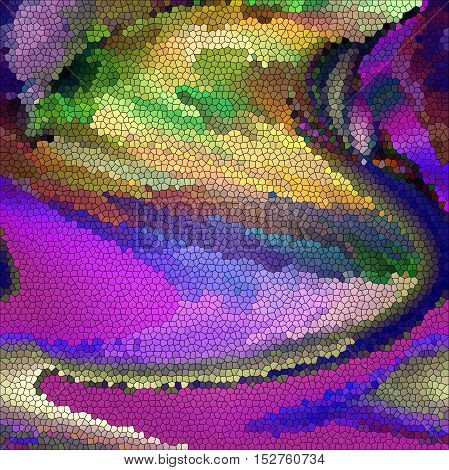 Abstract coloring background of the purples gradient with visual pagecurl, lighting,cubism, spherize and stained glass effects, good for your project design