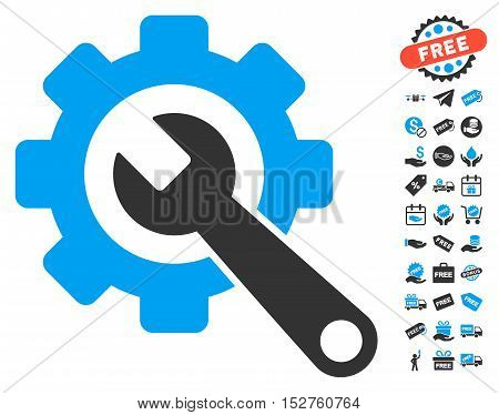 Gear and Wrench icon with free bonus symbols. Vector illustration style is flat iconic symbols, blue and gray colors, white background.