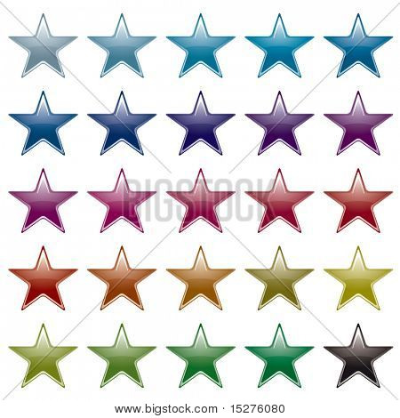Collection of many brightly colored star shapes with light reflection