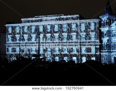 Illuminated museum. Lodz, Poland October 08, 2016 Illuminated lights Archaeological Museum in Freedom Square in Lodz Festival art light 2016
