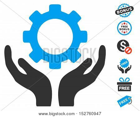 Gear Maintenance Hands icon with free bonus pictograph collection. Vector illustration style is flat iconic symbols, blue and gray colors, white background.