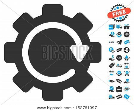 Gear Rotation Direction icon with free bonus pictograms. Vector illustration style is flat iconic symbols, blue and gray colors, white background.