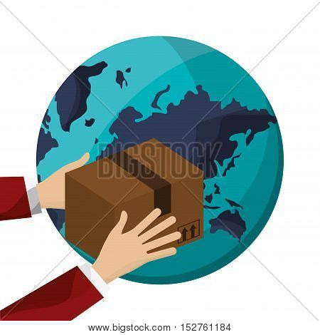 Package and planet icon. Delivery shipping and logistic theme. Colorful design. Vector illustration