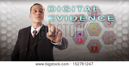 Mature male digital forensic practitioner investigating DIGITAL EVIDENCE on a touch screen. Law enforcement concept and information technology metaphor involving evidence law and computer law.
