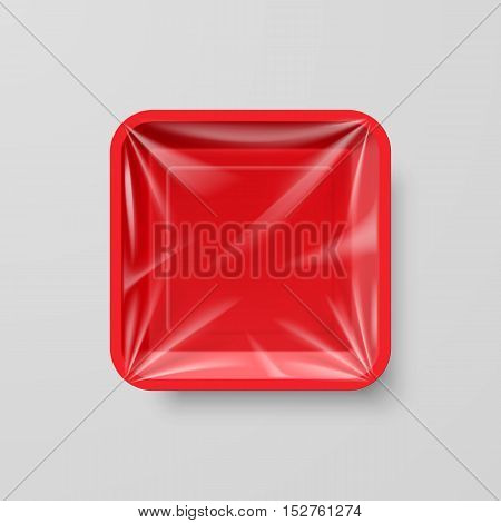Empty Red Plastic Food Square Container on Gray
