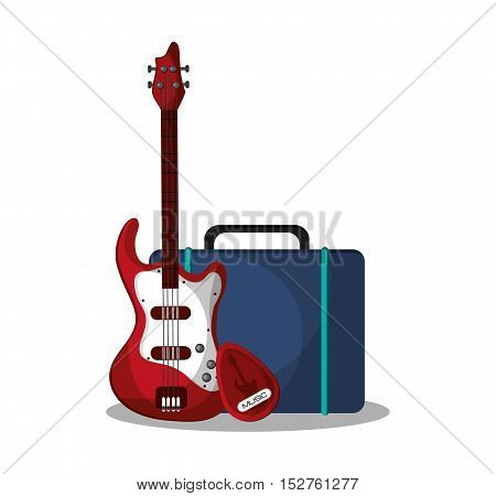 Electric guitar and bag icon. Music sound musical and communication theme. Colorful design. Vector illustration