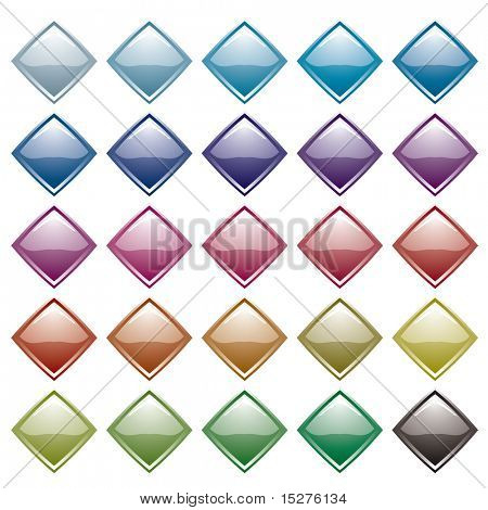 Collection of many diamond shaped icons with light reflection