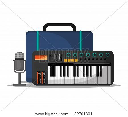 Piano instrument bag and microphone icon. Music sound musical and communication theme. Colorful design. Vector illustration