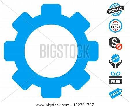 Gear icon with free bonus images. Vector illustration style is flat iconic symbols, blue and gray colors, white background.