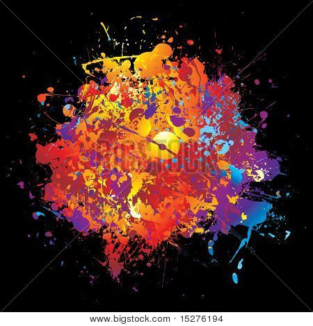 Bright colorful abstract rainbow paint background with ink splats