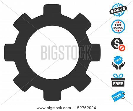 Gear pictograph with free bonus images. Vector illustration style is flat iconic symbols, blue and gray colors, white background.