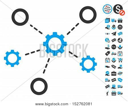 Gears Relations pictograph with free bonus design elements. Vector illustration style is flat iconic symbols, blue and gray colors, white background.