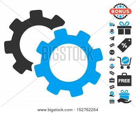 Gears pictograph with free bonus graphic icons. Vector illustration style is flat iconic symbols, blue and gray colors, white background.