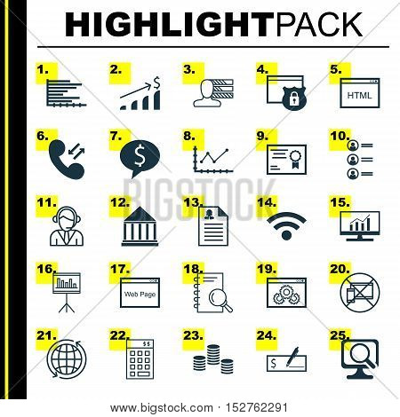 Set Of 25 Universal Editable Icons For Advertising, Education And Seo Topics. Includes Icons Such As