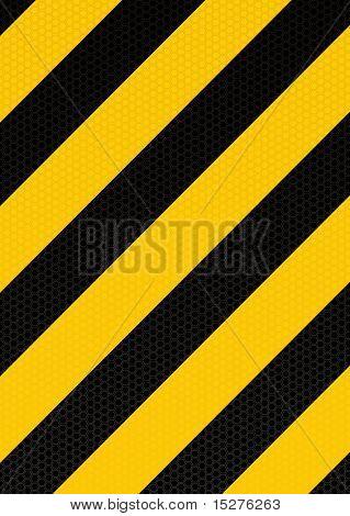 Fondo de advertencia de raya diagonal amarilla y negra con patrón hexagonal