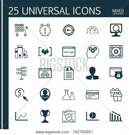 Set Of 25 Universal Editable Icons For Human Resources, Advertising And Computer Hardware Topics. In