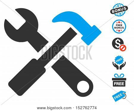 Hammer and Wrench icon with free bonus pictograms. Vector illustration style is flat iconic symbols, blue and gray colors, white background.