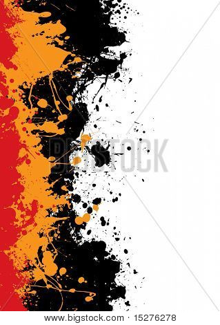 Grunge background splat de tinta com tinta laranja e vermelha