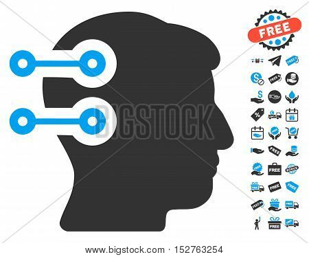 Head Connectors icon with free bonus pictograms. Vector illustration style is flat iconic symbols, blue and gray colors, white background.