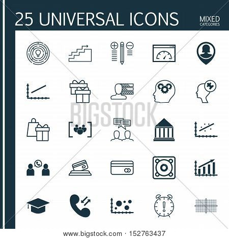 Set Of 25 Universal Editable Icons For Computer Hardware, Seo And Advertising Topics. Includes Icons
