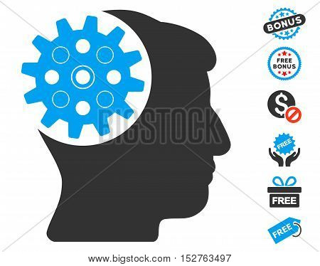 Head Gear icon with free bonus design elements. Vector illustration style is flat iconic symbols, blue and gray colors, white background.