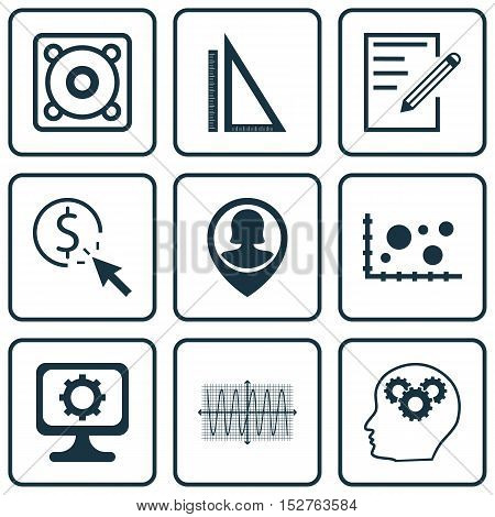 Set Of 9 Universal Editable Icons For Computer Hardware, Statistics And Education Topics. Includes I