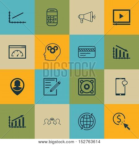 Set Of 16 Universal Editable Icons For Computer Hardware, Statistics And Airport Topics. Includes Ic