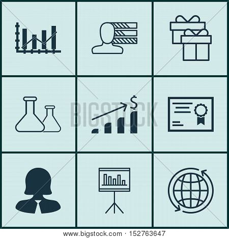 Set Of 9 Universal Editable Icons For Project Management, Human Resources And Airport Topics. Includ