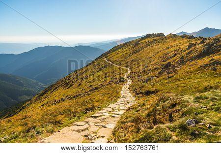 Rocky Hiking Trail in the Mountains on Sunny Day. Low Tatras Ridge Slovakia.