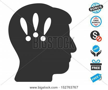 Head Problems icon with free bonus clip art. Vector illustration style is flat iconic symbols, blue and gray colors, white background.