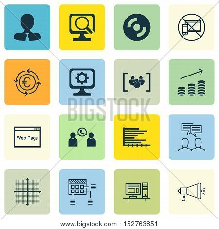 Set Of 16 Universal Editable Icons For Airport, Advertising And Human Resources Topics. Includes Ico