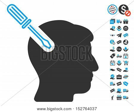 Head Surgery Screwdriver pictograph with free bonus clip art. Vector illustration style is flat iconic symbols, blue and gray colors, white background.