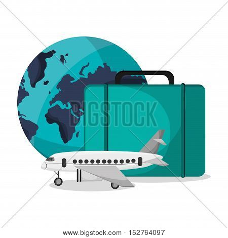 Airplane planet and suitcase icon. Airport travel trip vacation and tourism theme. Colorful design. Vector illustration