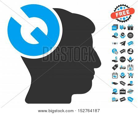 Head Surgery Wrench pictograph with free bonus pictograph collection. Vector illustration style is flat iconic symbols, blue and gray colors, white background.