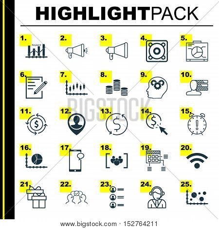 Set Of 25 Universal Editable Icons For Statistics, Marketing And Hr Topics. Includes Icons Such As W