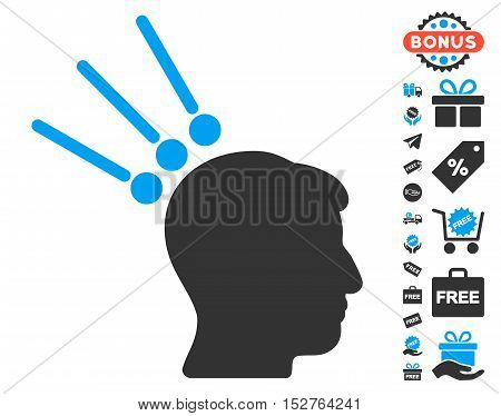 Head Test Connectors icon with free bonus pictograph collection. Vector illustration style is flat iconic symbols, blue and gray colors, white background.