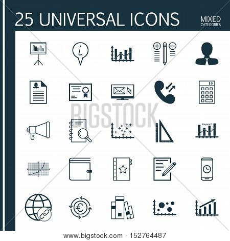 Set Of 25 Universal Editable Icons For School, Hr And Education Topics. Includes Icons Such As Prese