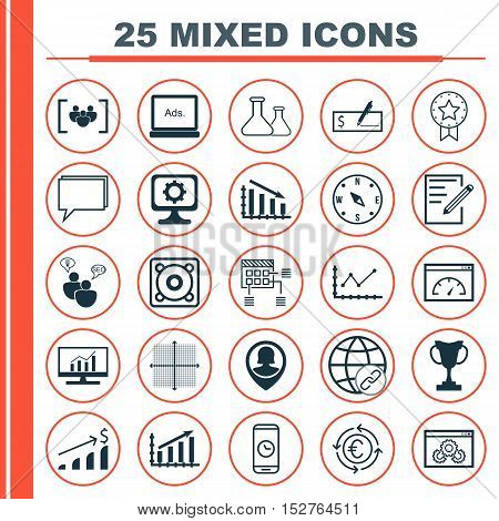 Set Of 25 Universal Editable Icons For Marketing, Human Resources And Travel Topics. Includes Icons