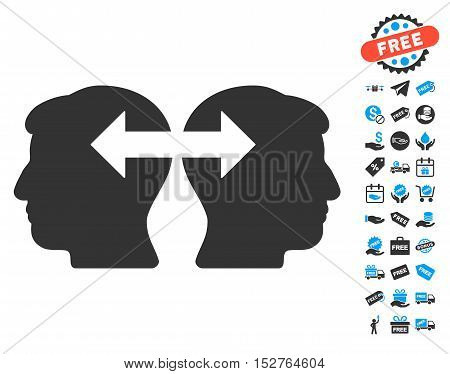 Heads Exchange Arrows icon with free bonus clip art. Vector illustration style is flat iconic symbols, blue and gray colors, white background.